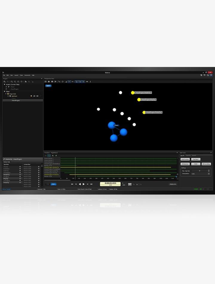 Logiciel de capture de mouvement Motive:Tracker de Optitrack