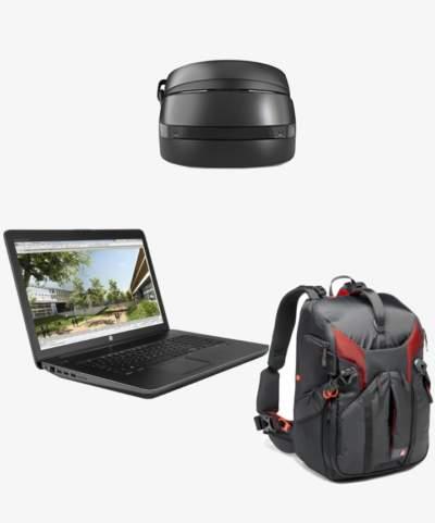 Casque réalité mixte Lenovo +ordinateur portable HP+ sac à dos Manfrotto