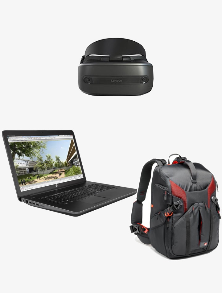 Pack réalité mixte ordinateur msi+casque réalité mixte Lenovo+Sac à dos manfrotto