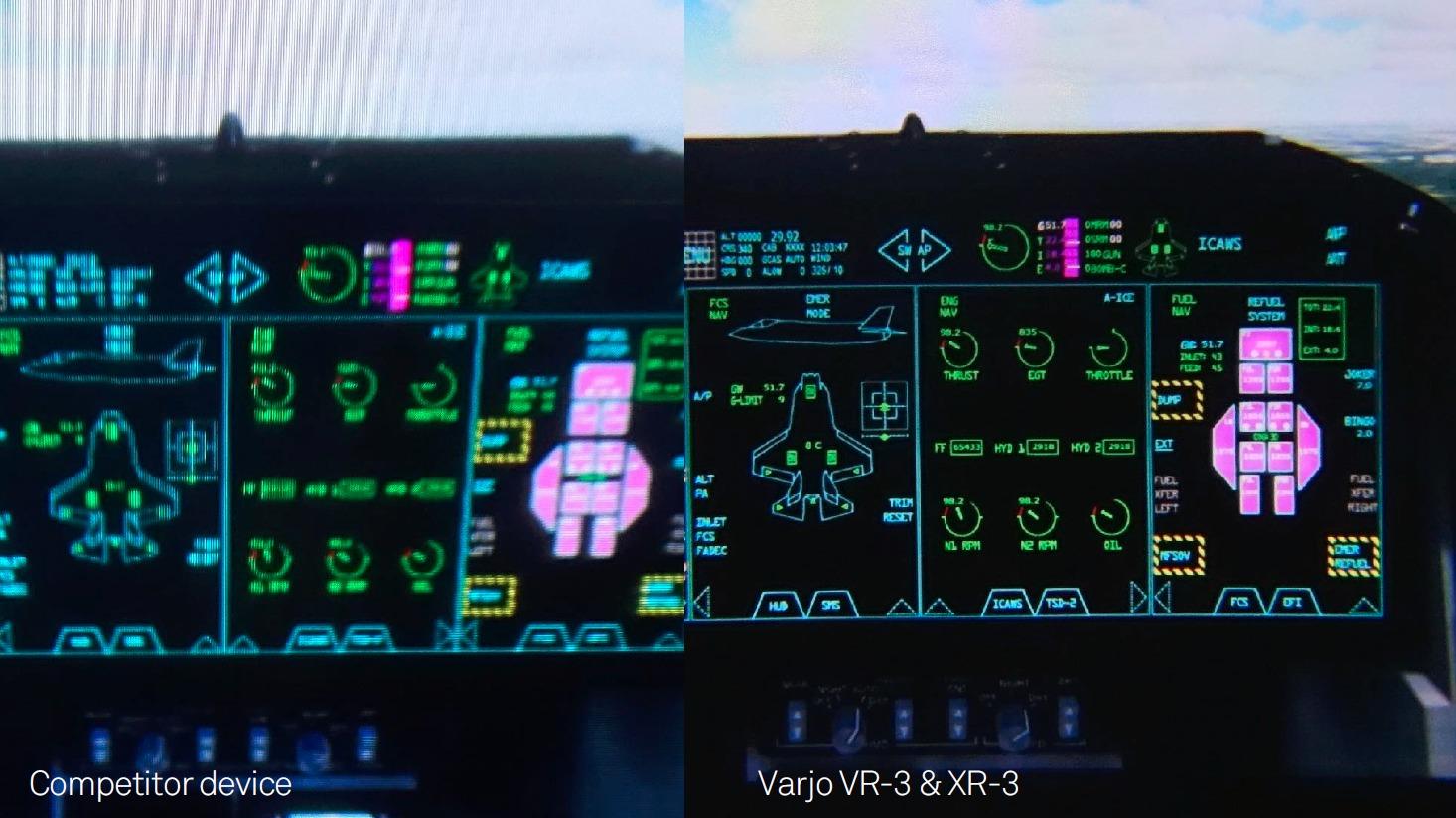 Varjo VR-3 virtual reality headset image comparison