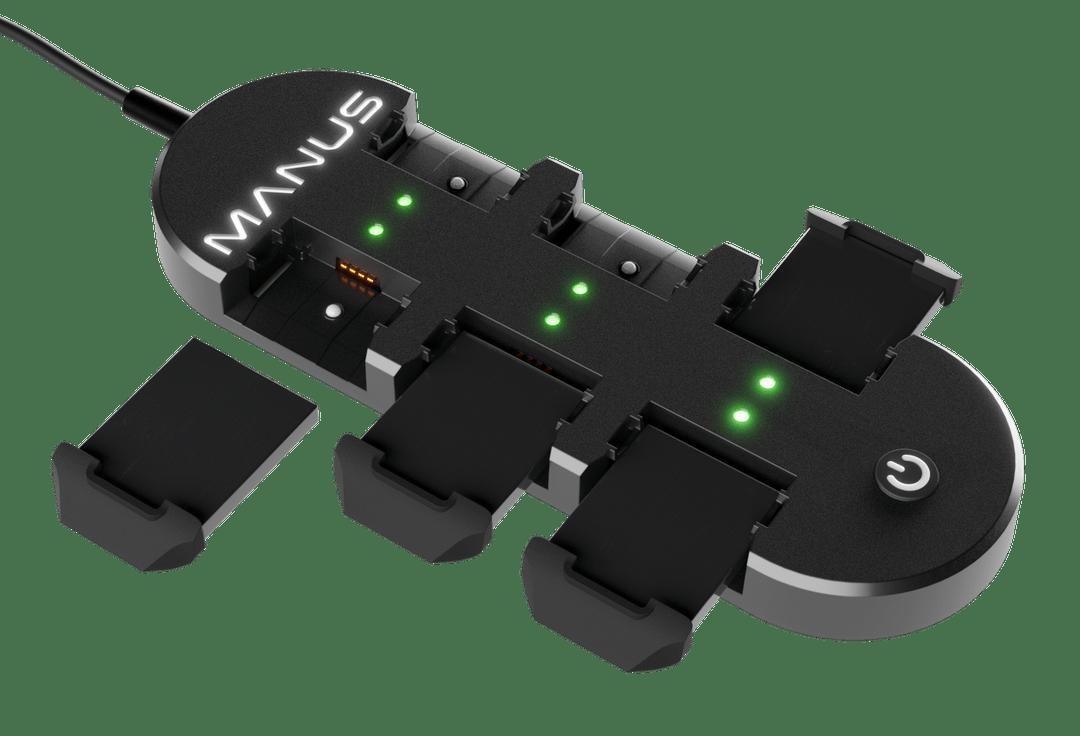Manus Prime X Haptic VR : batteries rechargeables.
